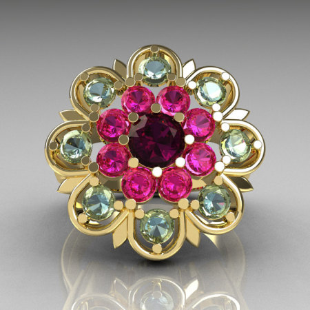 Modern Edwardian 18K Yellow Gold Amethyst Pink Sapphire Aquamarine Cocktail Flower Ring R101-18KYGAMPSAQ-1