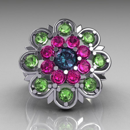 Modern Edwardian 14K White Gold Alexandrite Pink and Green Sapphire Cocktail Flower Ring R101-14KWGALPSGS-1