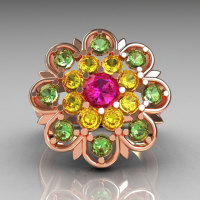 Modern Edwardian 18K Rose Gold Alexandrite Pink and Green Sapphire Cocktail Flower Ring R101-18KRGALPSGS-1