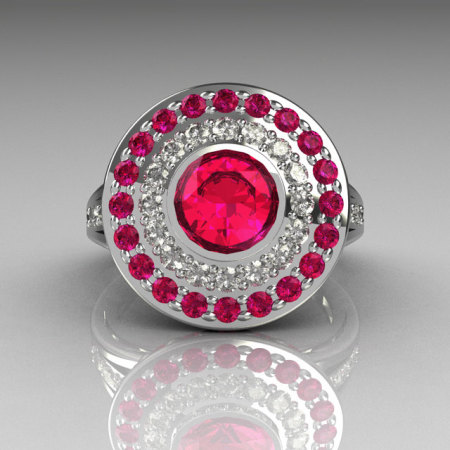 Classic 18K White Gold 1.0 Carat Round Pink Sapphire Diamond Bead-Set Engagement Ring R100-18KWGDPSS-1