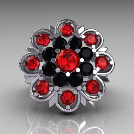 Modern Edwardian 14K White Gold Black Diamond Red Ruby Cocktail Flower Ring R101-14KWGBDRR-1