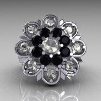 Modern Edwardian 18K White Gold White and Black Diamond Flower Ring R101-18KWGWBD-1