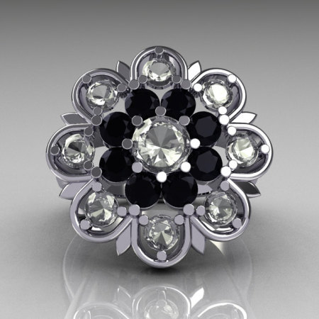 Modern Edwardian 18K White Gold White and Black Diamond Flower Ring R101-18KWGWBD-1