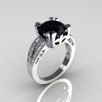 Modern Vintage 18K White Gold 3.0 Carat Black and White Diamond Solitaire Ring R102-18KWGDBD-1