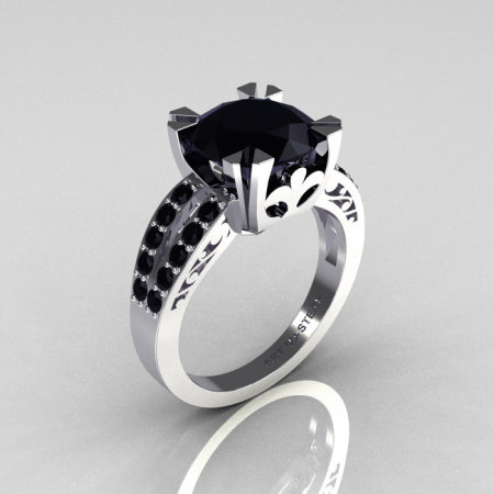 Modern Vintage 14K White Gold 3.0 Carat Black Diamond Solitaire Ring R102-14KWGBDD-1