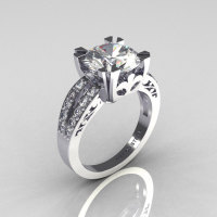 Modern Vintage 18K White Gold 3.0 Carat CZ Diamond Solitaire Ring R102-18KWGDCZ-1