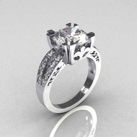 Modern Vintage 18K White Gold 3.0 Carat CZ Diamond Solitaire Ring R102-18KWGDCZ-1