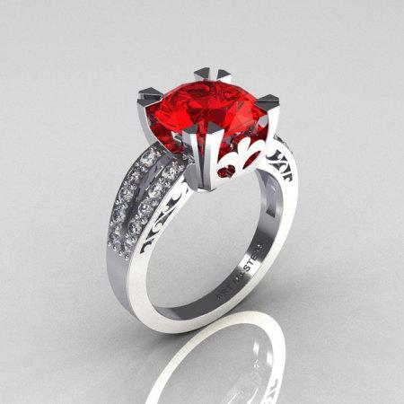 Modern Vintage 10K White Gold 3.0 Carat Red Ruby Diamond Solitaire Ring R102-10KWGDRR-1