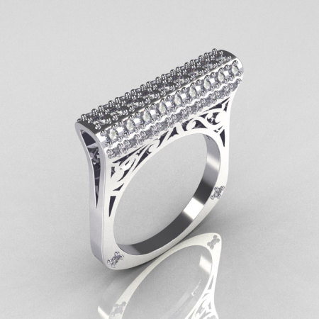 Modern Persian 14K White Gold 0.73 CTW Diamond Designer Ring R103-14KWGD-1
