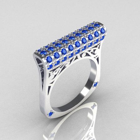 Modern Persian 14K White Gold 0.73 CTW Blue Diamond Designer Ring R103-14KWGBD-1