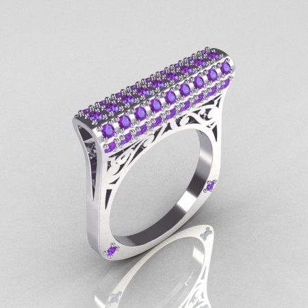 Modern Persian 10K White Gold 0.73 CTW Light Amethist Designer Ring R103-10KWGLA-1