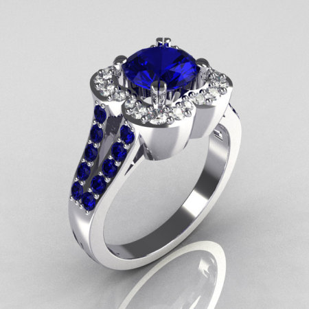 Classic 2011 Trend 10K White Gold 1.0 Carat Blue Sapphire Diamond Celebrity Fashion Engagement Ring R104-10KWGDBS-1