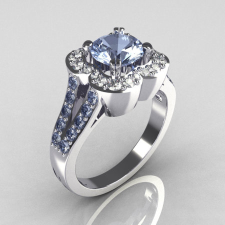 Classic 950 Platinum 1.0 Carat Blue Topaz Diamond Celebrity Fashion Engagement Ring R104-PLATDBT-1