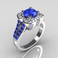 Classic 2011 Trend 14K White Gold 1.0 Carat Blue and White Diamond Celebrity Fashion Engagement Ring R104-14KWGDBD-1