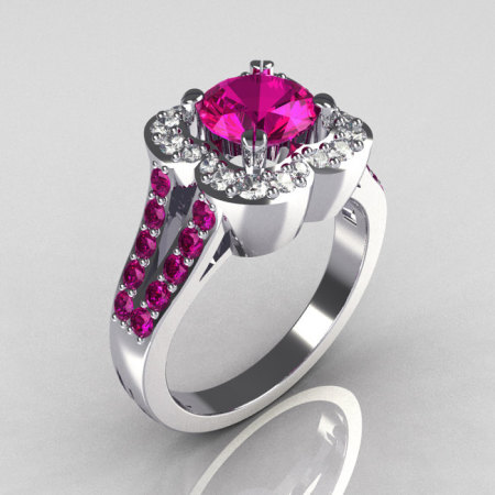 Classic 2011 Trend 10K White Gold 1.0 Carat Pink Sapphire Diamond Celebrity Fashion Engagement Ring R104-10KWGDPS-1