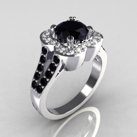 Classic 950 Platinum 1.0 Carat Black and White Diamond Celebrity Fashion Engagement Ring R104-PLATDBL-1