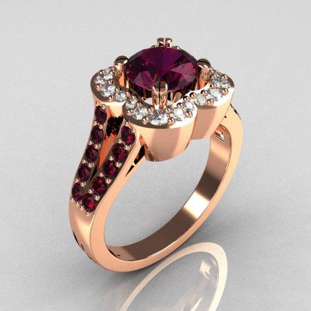 Classic 2011 Trend 18K Pink Gold 1.0 Carat Amethyst Diamond Celebrity Fashion Engagement Ring R104-18KPGDAM-1