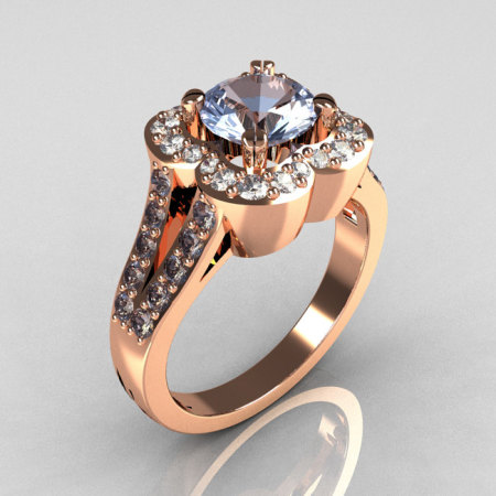 Classic 2011 Trend 18K Pink Gold 1.0 Carat Blue Topaz Diamond Celebrity Fashion Engagement Ring R104-18KPGDBT-1