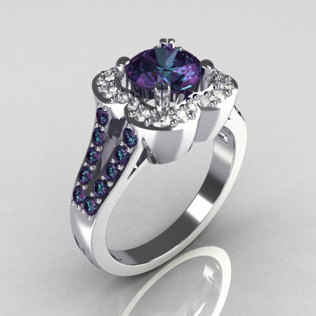 Classic 10K White Gold 2.0 Carat Alexandrite Diamond Celebrity Fashion Engagement Ring R104-10KWGD2AL-1