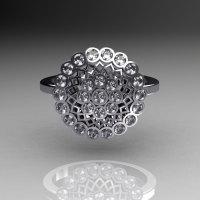 Classic 14K White Gold 0.50 CTW Diamond Cluster Bridal Ring R107-14KWGD-2