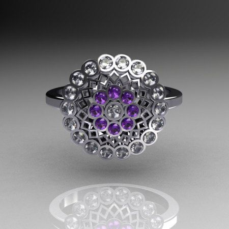 Classic 18K White Gold Diamond Lilac Amethyst Cluster Bridal Ring R107-18KWGDLA-1