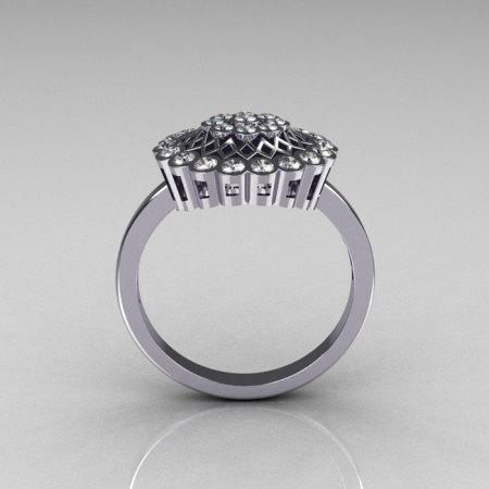 Classic 14K White Gold 0.50 CTW Diamond Cluster Bridal Ring R107-14KWGD-1