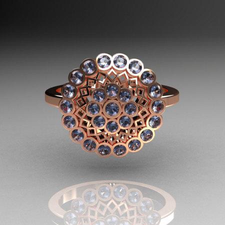 Classic 14K Pink Gold 0.50 CTW Blue Topaz Cluster Bridal Ring R107-14KPGBT-1