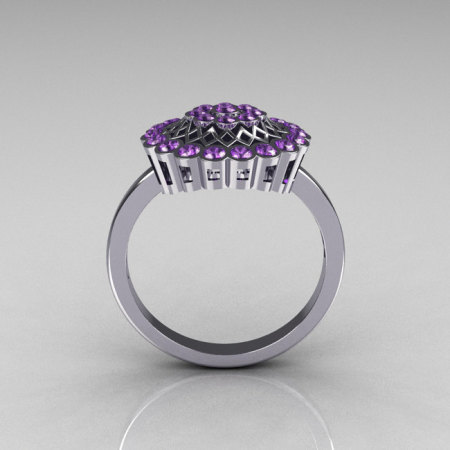 Classic 10K White Gold Lilac Amethyst Cluster Bridal Ring R107-10KWGLA-1