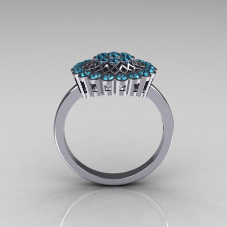 Classic 14K White Gold Aquamarine Cluster Bridal Ring R107-14KWGAQ-1
