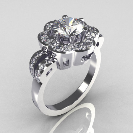 Classic 14K White Gold 1.0 Carat CZ Diamond 2011 Trend Engagement Ring R108-14KWGDCZ-1