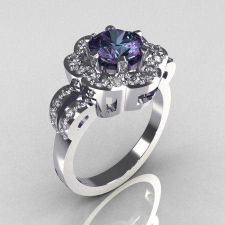 Classic 14K White Gold 1.0 Carat Alexandrite Diamond 2011 Trend Engagement Ring R108-14KWGDAL-1