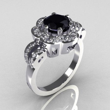 Classic 10K White Gold 1.0 Carat Black and White Diamond 2011 Trend Engagement Ring R108-10KWGDBLD-1