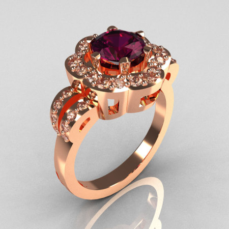 Classic 18K Pink Gold 1.0 Carat Amethyst Diamond 2011 Trend Engagement Ring R108-18KPGDAM-1