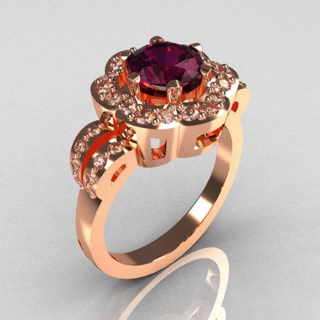 Classic 18K Pink Gold 1.0 Carat Amethyst Diamond 2011 Trend Engagement Ring R108-18KPGDAM-1