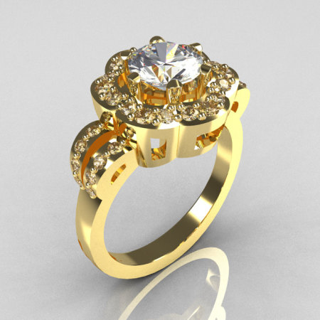 Classic 18K Yellow Gold 1.0 Carat CZ Diamond 2011 Trend Engagement Ring R108-18KYGDCZ-1