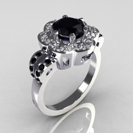 Classic 10K White Gold 1.0 Carat Black and White Diamond 2011 Trend Engagement Ring R108-10KWGDBLDD-1