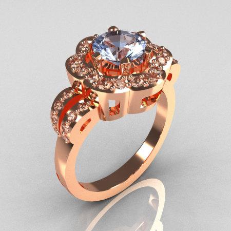 Classic 18K Pink Gold 1.0 Carat Blue Topaz Diamond 2011 Trend Engagement Ring R108-18KPGDBT-1