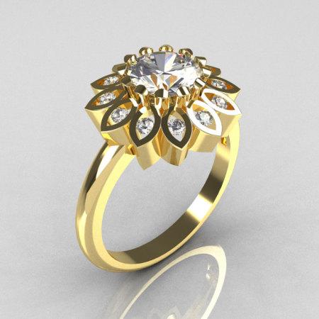 Modern Vintage 10K Yellow Gold 1.0 Carat Zirconia Diamond Bridal Ring R113-10KYGDCZ-1