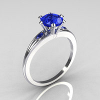 Ultra Modern 14K White Gold 1.0 Carat Round Blue Diamond Solitaire Ring R111-14KWGBD-1