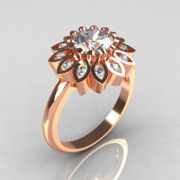 Modern Vintage 18K Rose Gold 1.0 Carat Zirconia Diamond Bridal Ring R113-18KRGDCZ-1