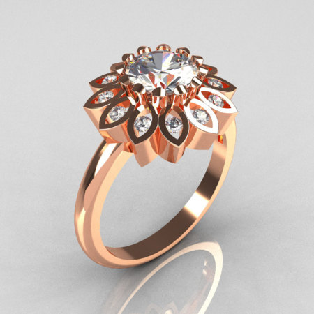 Modern Vintage 18K Rose Gold 1.0 Carat Zirconia Diamond Bridal Ring R113-18KRGDCZ-1