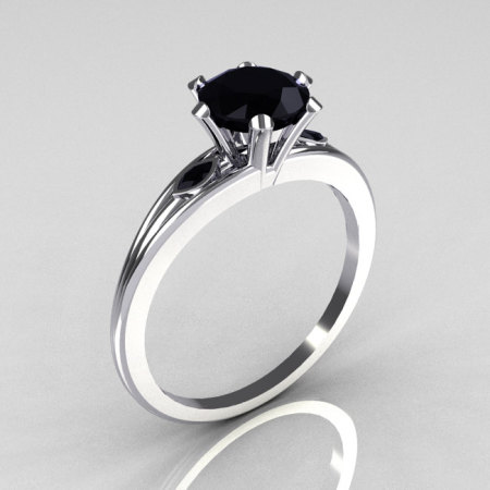 Ultra Modern 14K White Gold 1.0 Carat Round Black Diamond Solitaire Ring R111-14KWGBLD-1