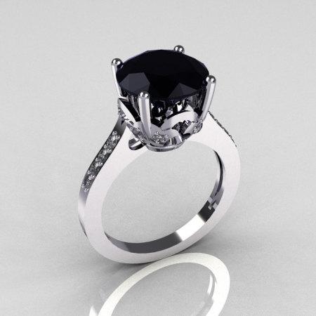 Classic 18K White Gold 3.5 Carat Black Diamond Pave White Diamond Solitaire Wedding Ring R301-18WGDBL-1