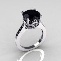 Classic 14K White Gold 3.5 Carat Black Diamond Solitaire Wedding Ring R301-14WGDBLL-1