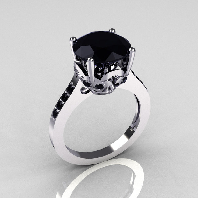 Classic 14K White Gold 3 5 Carat Black Diamond Solitaire Wedding Ring R301 14