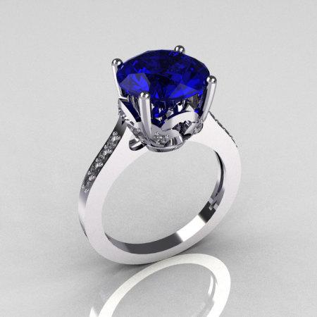 Classic 10K White Gold 3.5 Carat Blue Sapphire Pave Diamond Solitaire Wedding Ring R301-10WGDBL-1