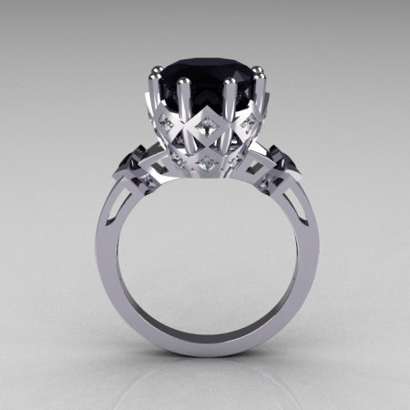 Modern Vintage Beatrice Collection 950 Platinum 3.0 Carat Black and White Diamond Solitaire Wedding Ring R303-PLATDBL-1