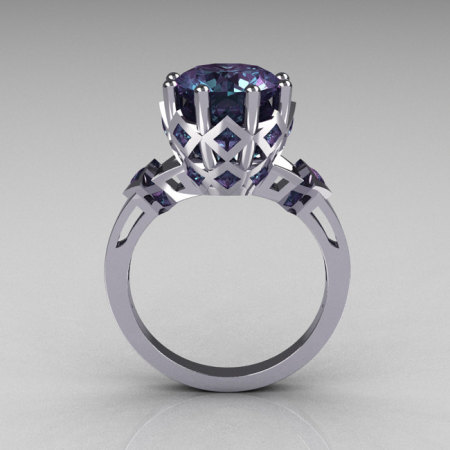 Modern Vintage Tatyana Collection 14K White Gold 3.0 Carat Alexandrite Solitaire Wedding Ring R303-14WGAL-1
