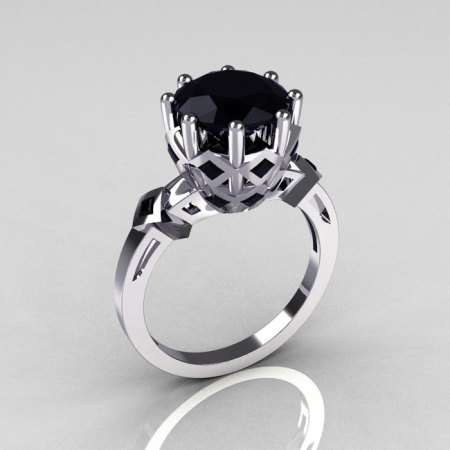 Modern Vintage Anais Collection 18K White Gold 3.0 Carat Black Diamond Solitaire Wedding Ring R303-18WGBLL-1