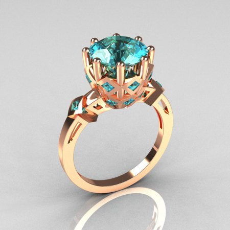 Modern Renaissance Anahit Collection 18K Rose Gold 3.0 Carat Aquamarine Solitaire Wedding Ring R303-18RGAQ-1